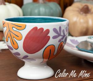 Glenview Floral Pedestal Bowl